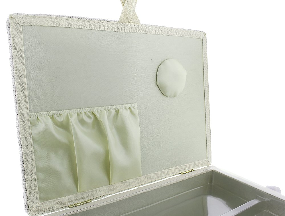 13 x 9 x 6 Inches Rectangular Shaped Vintage Sewing Basket Organizer Box Kit with Hand Sewing Supplies and Notions