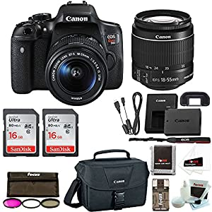 Canon Rebel T6i Digital SLR Camera with 18-55mm Lens + 32GB Memory + Canon 100ES DSLR Bag + 3pc Filter Kit + Promotional Holiday Bundle