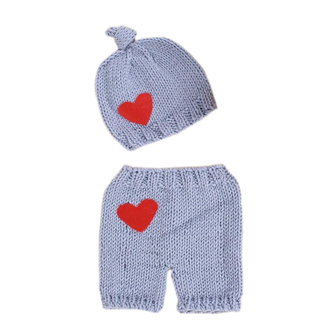 Cinnamou Ropa de dos piezas para recién nacido elástico de punto foto sombrero de bebé + pantalones cortos apoyos de fotografía de vestuario