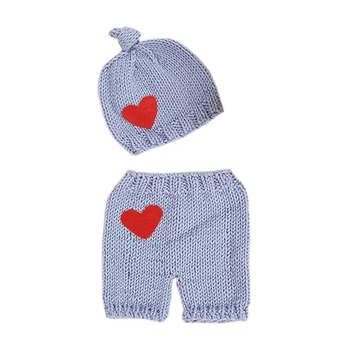 Cinnamou Ropa de dos piezas para recién nacido elástico de punto foto sombrero de bebé + pantalones cortos apoyos de fotografía de vestuario: Amazon.es: ...