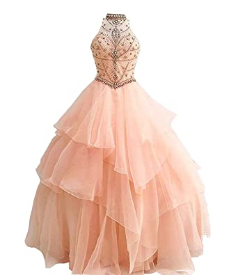 631cd113795 Libaosha Girls Halter Luxury Beaded Organza Quinceanera Dress Ball Gown  Prom Dresses (US2
