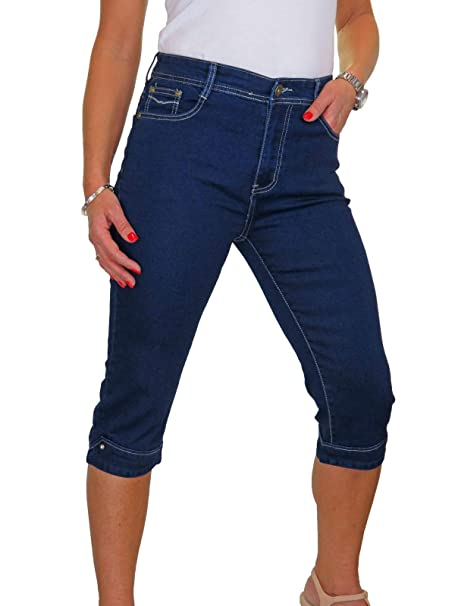 Roman Originals Womens Blue Plain Cropped Jegging Sizes 10-20