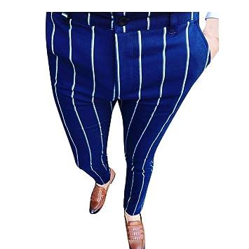 Pantalones de Rayas Formales de Negocio Pantalones de Traje ...
