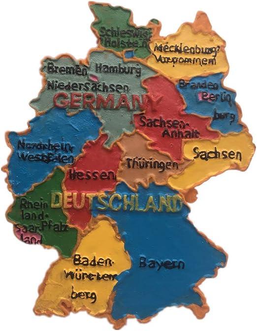 Weekinglo Souvenir Nevera Imán Mapa Alemania 3D Resina Artesanía ...