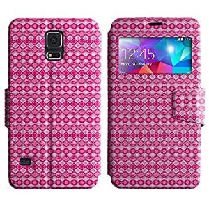AADes Scratchproof PU Leather Flip Stand Case Samsung Galaxy S5 V SM-G900 ( Pink Pattern )