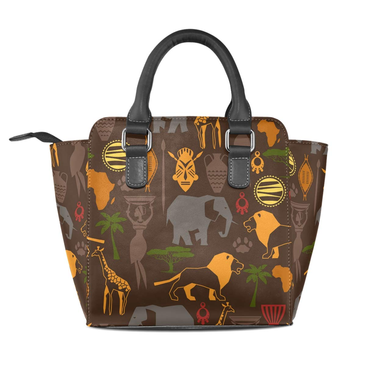 7a37a8fa35c5 Amazon.com: LORVIES Women African Ethnic Pattern With Stylized Icons PU Leather  Shoulder Bags Top-Handle Handbag Tote Crossbody Bag: Shoes