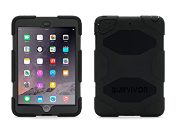 iPad Mini 1/2/3 Rugged Case, Survivor All-Terrain Case Plus Stand, Black