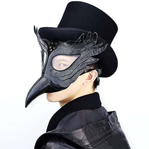 Sharplace Máscara Médico de la Peste Negra Disfraz Cosplay Plague Doctor Schnabel - Negro: Amazon.es: Juguetes y juegos