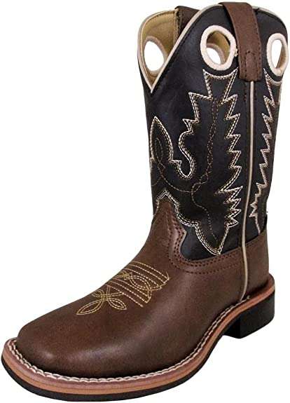 Smoky Mountain Boys Brown with Blue Stitch Monterey Western Cowboy Boots,7.5 M US Toddler