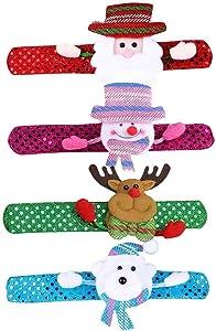 O/D Dexuan 4PC Christmas LED Wristband, Christmas Slap Bracelet Party Decor Christmas LED Wristband Hand Ring, Christmas Ornaments with Lights, Pop Ring with Lights Bracelet