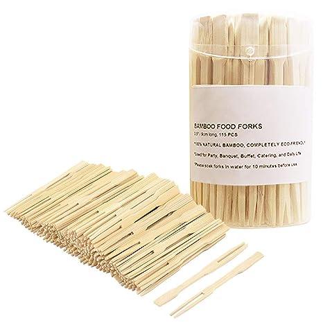 100 stücke Bambus Catering Gabeln Einweg Sticks Pick Cocktail Fingerfood BBQ