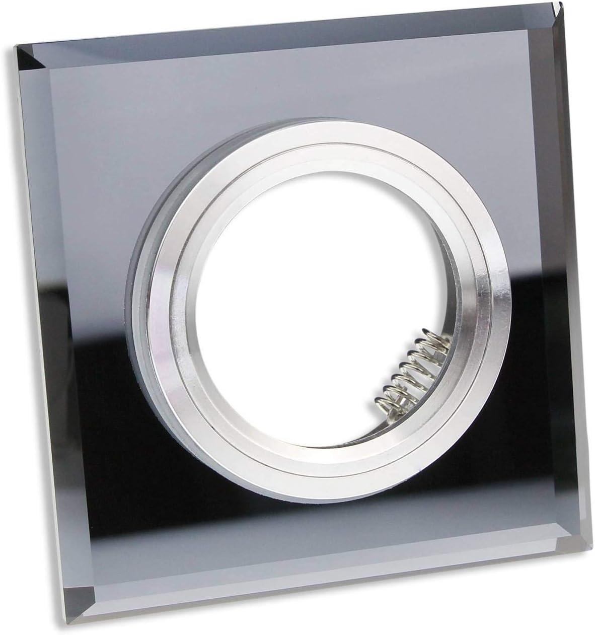 5 x LED Einbaustrahler GU10 Einbaurahmen Kristall eckig schwarz klar 12V//230V