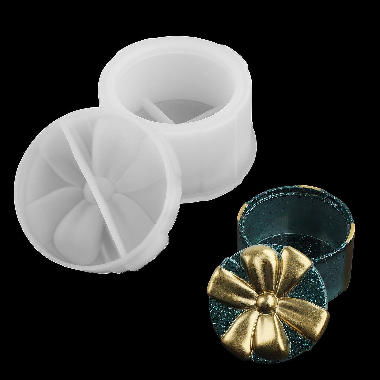 Molde Silicona Resina 2Pcs Silicona Moldes de Joyería Caja de almacenamiento de joyería transparente para hacer moldes Moldes de silicona Caja Molde para hacer manualidades con resina DIY (Round)
