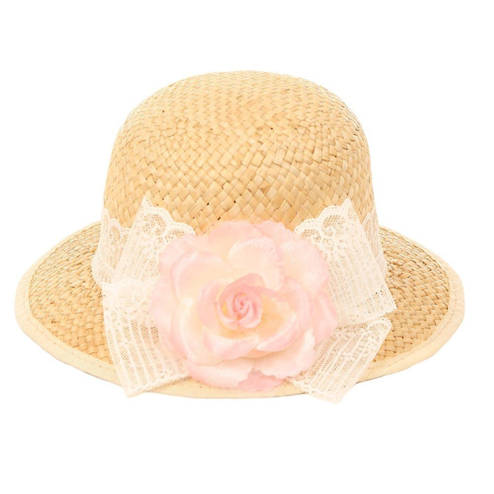 Kid's Dream Girls Straw Pink Detachable Flower Lace Adorned Summer Hat 18.5''