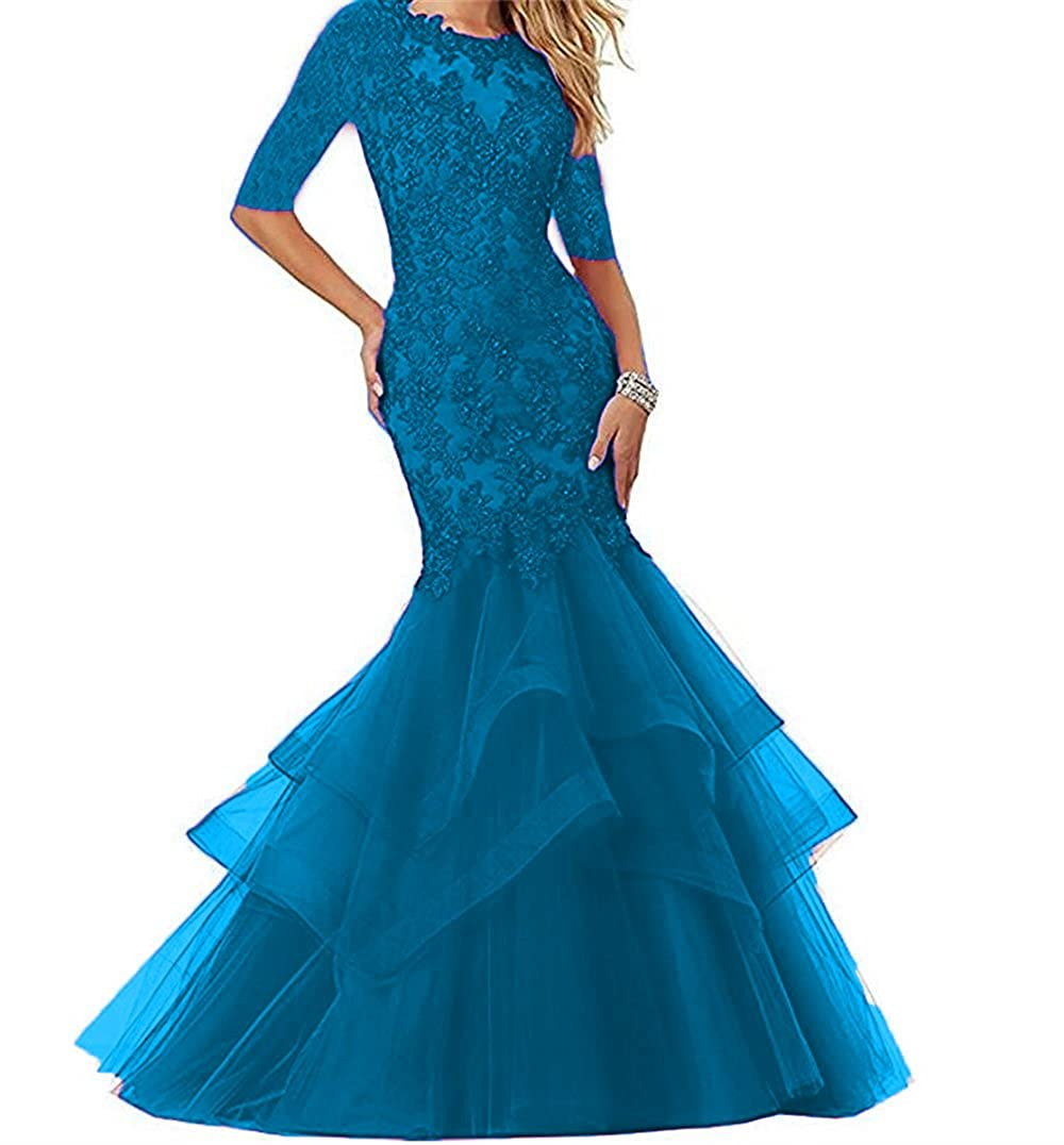 Navy bluee Dydsz Women's Long Prom Evening Dresses with Sleeves Mermaid Formal Party Gowns D265