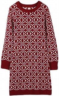 Good dress Otoño e Invierno Copo de Nieve Volando Patrón Cuello Redondo Jersey Manga Larga Vestido Largo Femenino, Vino Rojo, m