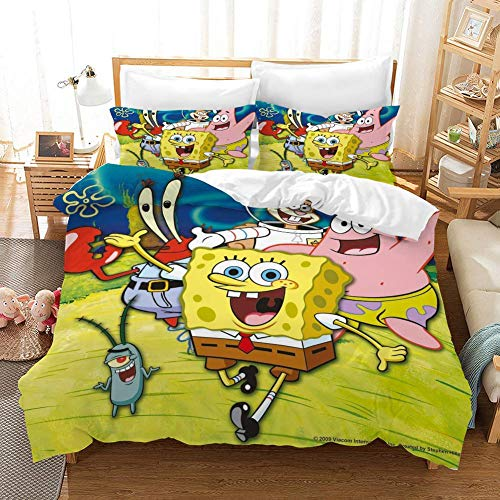 FJLOVE Bedding Duvet Cover 3 Piece Set 2 Pillow Shams 3D Print Spongebob Squarepants Patrick Star Squidward Tentacles with Zipper Closure for Kids Boys Girls Adult,E,Full