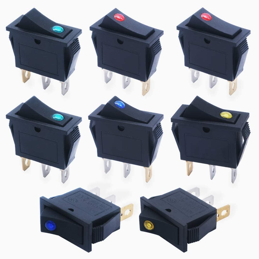 mxuteuk 8pcs 12V Red Yellow Green Blue LED Light Illuminated Snap-in Boat Rocker Switch Toggle Power SPST ON-Off 3 Pin AC 250V 16A 125V 20A Use for Car Auto Boat Appliances Control KCD3-102N-4C-MY