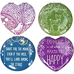 BMC 4pc Heart and Circle Shaped Quotes Design Compact Pocket Mirror