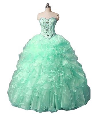 Dydsz Womens Beads Puffy Long Prom Quinceanera Dresses Ball Gown Plus Size D31 Aqua 2