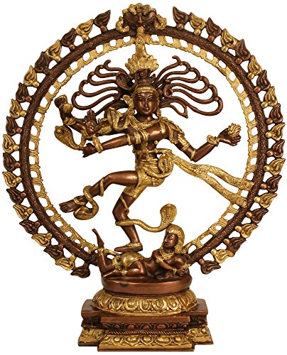 Nataraja in Brown and Golden Hues - Brass Statue