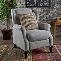 Domingo Traditional Winged Light Grey Tweed Fabric Recliner