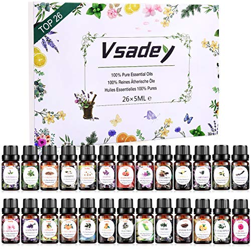 Essential Oils Set, VSADEY Aromatherapy Essential Oil Kit for Diffuser, Humidifier, Massage, Skin Care - Lavender, Eucalyptus, Peppermint, Sweet Orange, Tea Tree, Lemongrass, Bergamot (26 x 5ml),