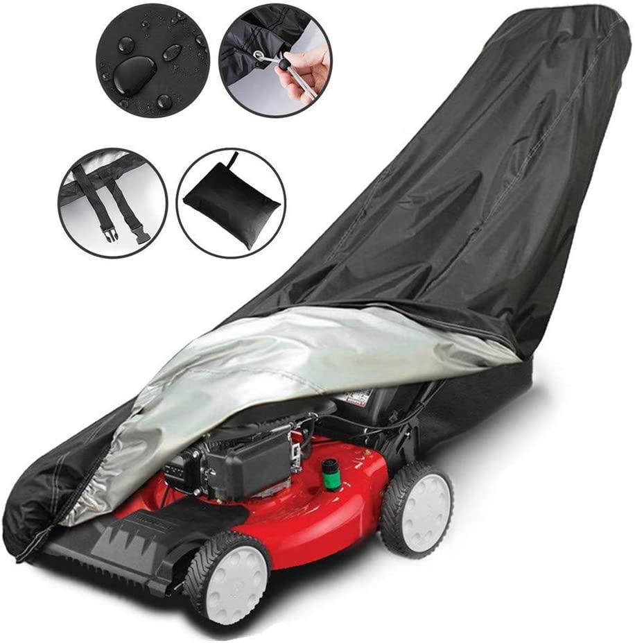 AIFUSI Lawn Mower Cover, Waterproof Heavy Duty Push Mower Covers, Dust UV Protection, Universal with Drawstring & Cover Storage Bag, Premium Oxford 210D