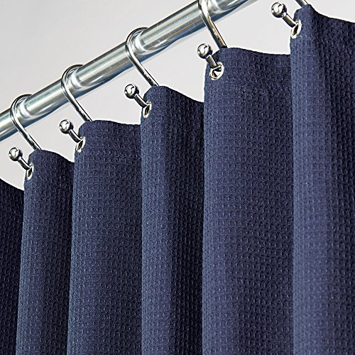 Navy Shower - mDesign Hotel Quality Polyester/Cotton Blend Fabric Shower Curtain, Rustproof Metal Grommets - Waffle Weave for Bathroom Showers and Bathtubs - 72