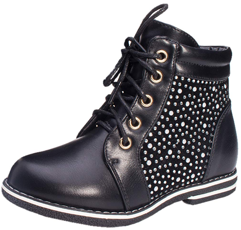VECJUNIA Girl's Trendy PU Zip Up Waterproof Ankle Martin Boots with Sequins (Black, 11 M US Little Kid) by VECJUNIA