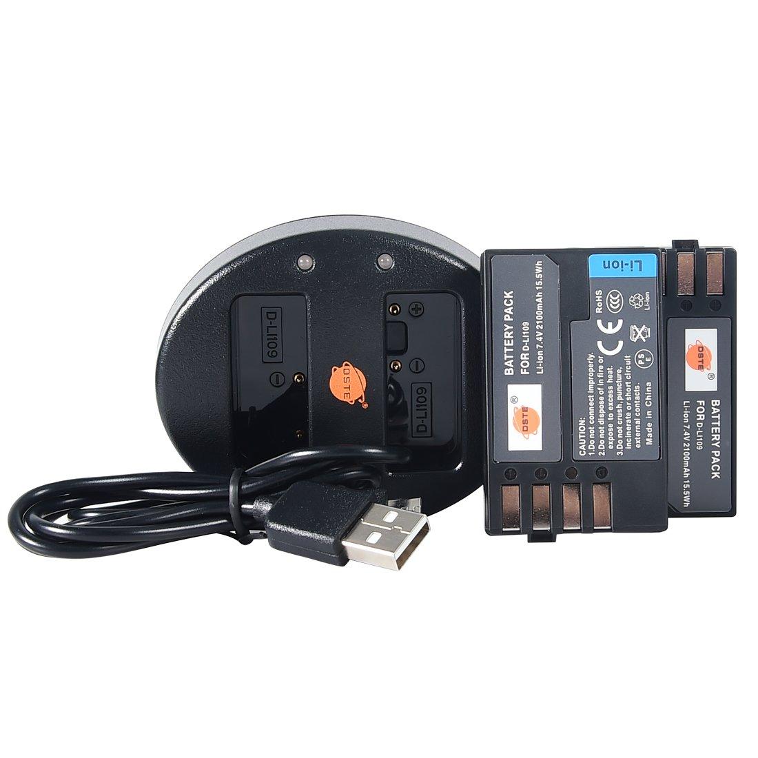 DSTE 2 x d-li109バッテリー+デュアルUSB充電器for Pentax k2 K - 50 K - 30 K - r k-500 K - s2 ks1デジタルカメラ B06ZYX59PQ