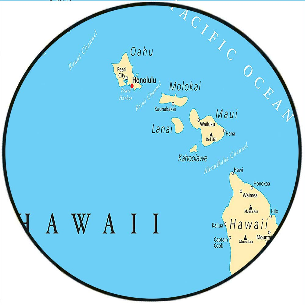 Amazon Com Short Plush Round Carpet Hawaiian Collection Map Of