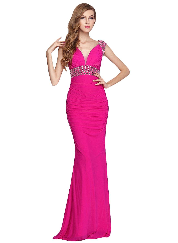Azbro Women's Sequin Beading V Neck Prom Dress