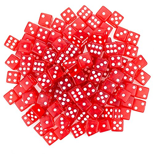 Brybelly 100 Red Dice , 16mm, (Casino Die)