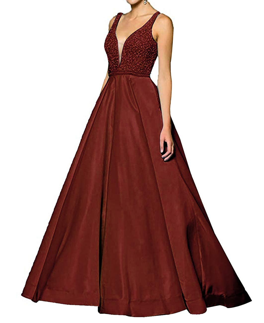 Burgundy Homecy Sequined Prom Dresses Long V Neck Sleeveless Evening Ball Gowns for Women Formal