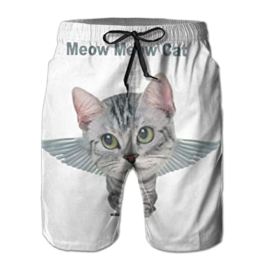 6a1370a3f8e7c Men's Meow Cat Summer Printed Quick Dry Bathing Suits Swimwear Swim Trunks  Beach Shorts at Amazon Men's Clothing store: