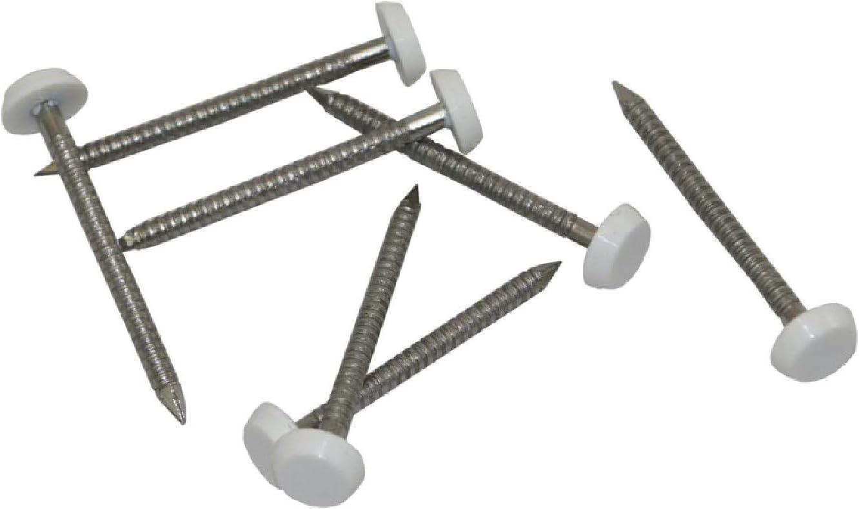 50 X 3.35 mm Blanco PVC Poli Top Pins//Uñas Plástico Cabeza De Acero Inoxidable A4