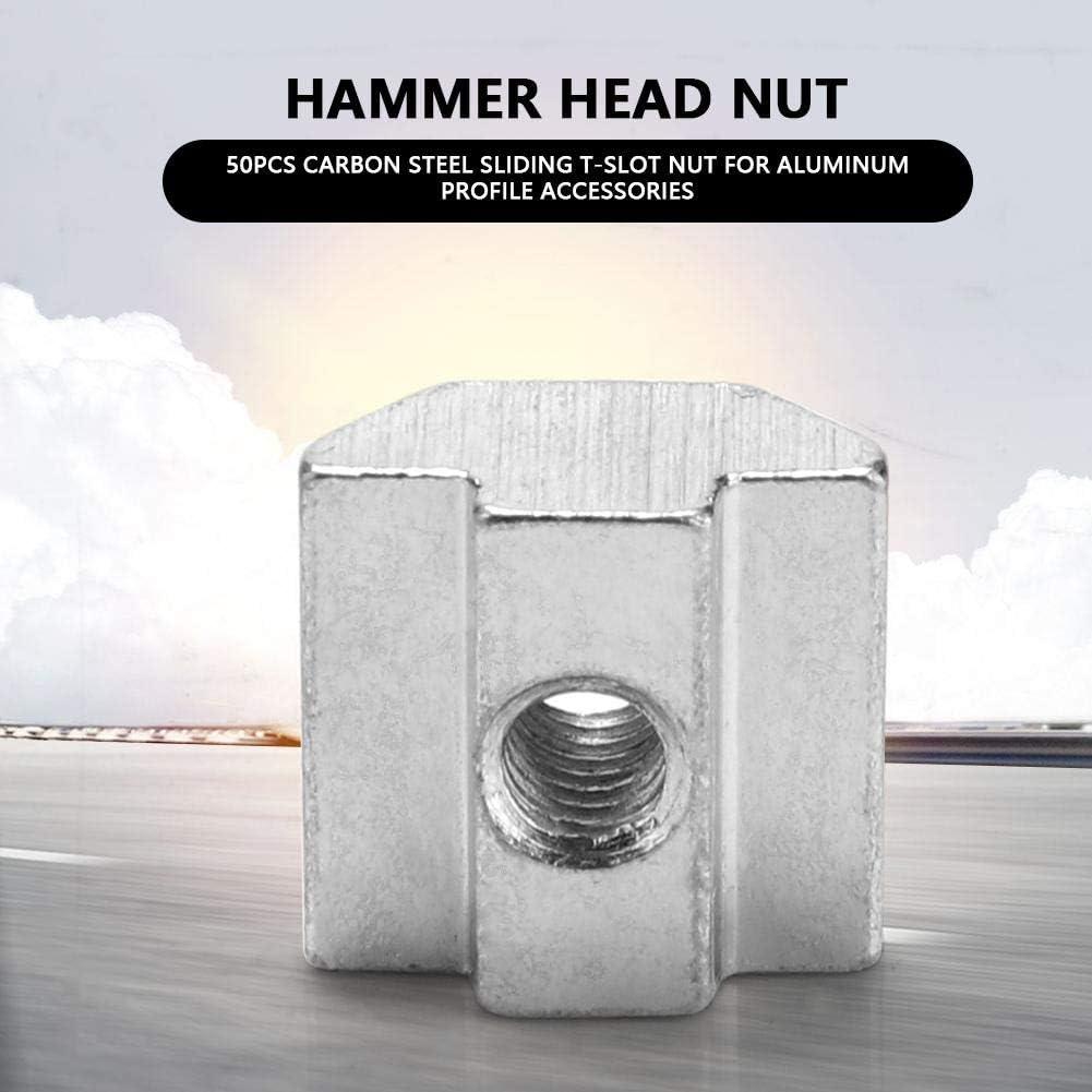 M4*20 * 9.6 Akozon Quadratische Schiebermutter T-Nutmutter 50 pcs Carbon Steel Schiebe-Nutenstein f/ür Aluminiumprofil-Zubeh/ör