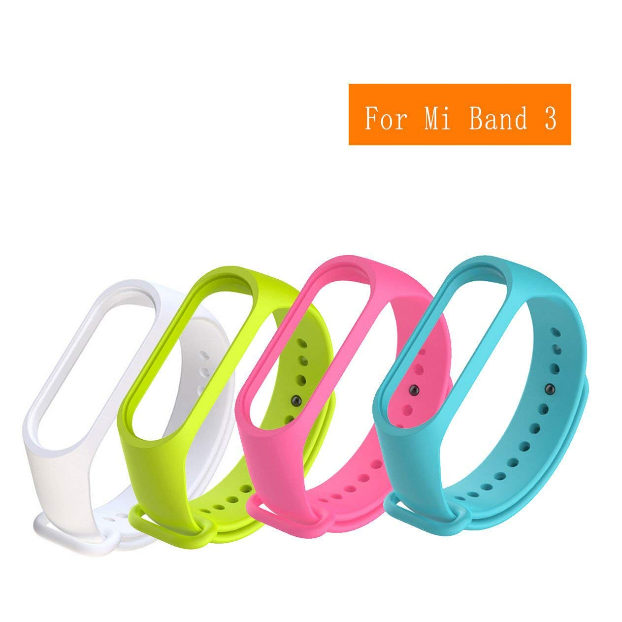 4pack Compatible Xiaomi Mi Band 3 Bracelet Silicon Oled Display Free Screen Guard Sport Replacement Strap Wristband Accessories Colorful