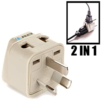 OREI Grounded Universal 2 in 1 Plug Adapter Type I for Australia, China, New Zealand and more - CE Certified - RoHS Compliant WP-I-GN: Home Audio & Theater