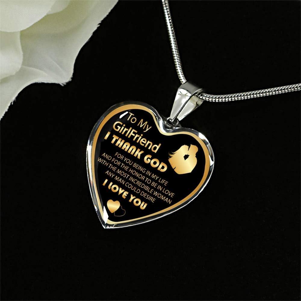 ZEN DEAL Sliver Heart Pendant to My Girlfriend Necklace Best Gift for Girlfriend Birthday