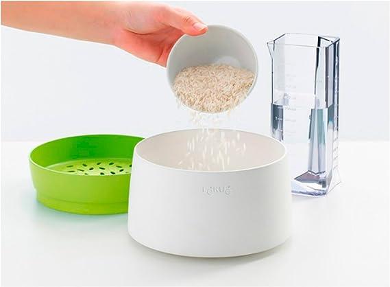Lékué Recepiente para cocinar arroz, Silicona, Verde, 13.1 cm ...