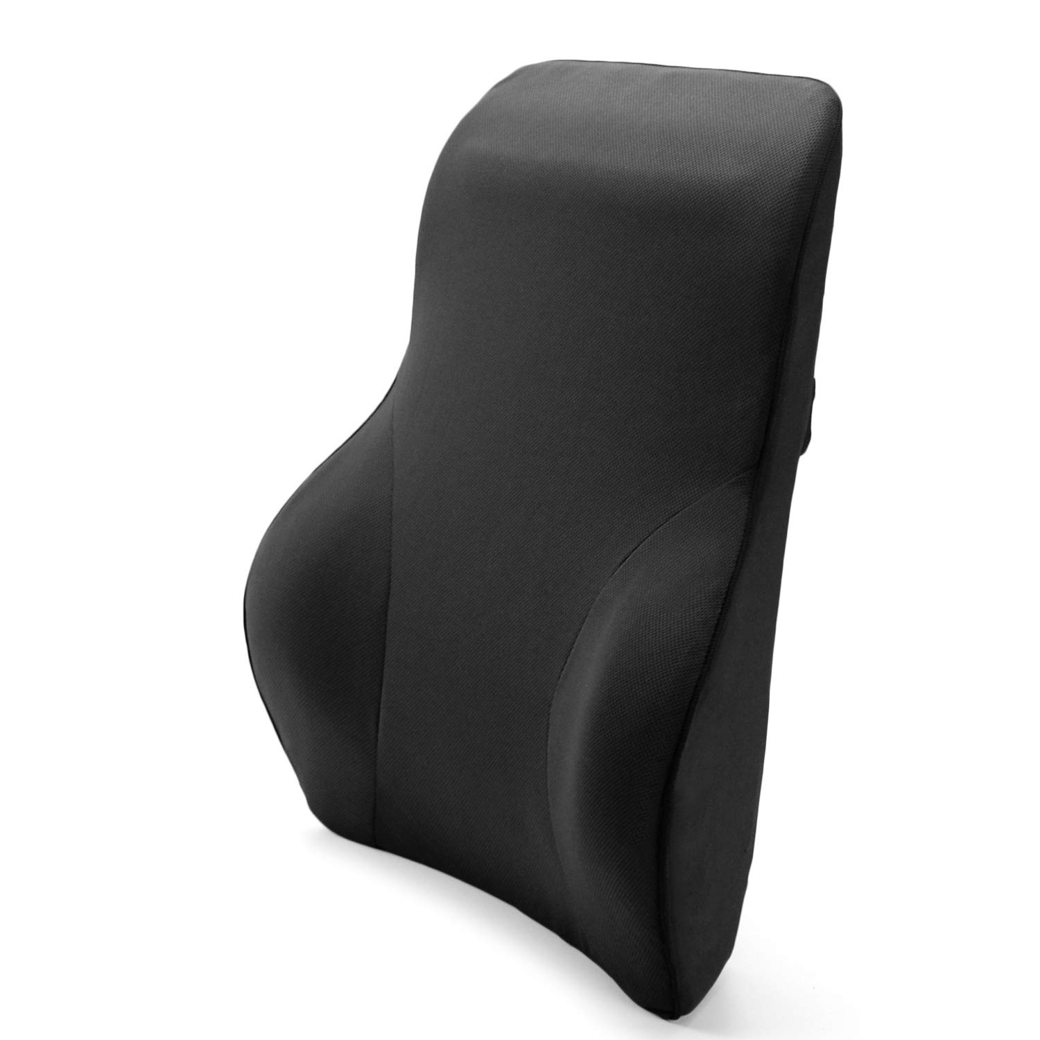 Tektrum Full Lumbar Entire Back Support Cushion for Home/Office Chair, Car Seat - Washable Cover, Ergonomic Thick 3D Design Fit Body Curve - Back Pain Relief, Improve Posture - Black (TD-QFC024-BLK)