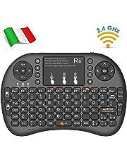 Rii Mini i8+ Wireless (Layout Italiano) - Mini Tastiera retroilluminata con Mouse touchpad per Smart TV, Mini PC, HTPC, Console, Computer