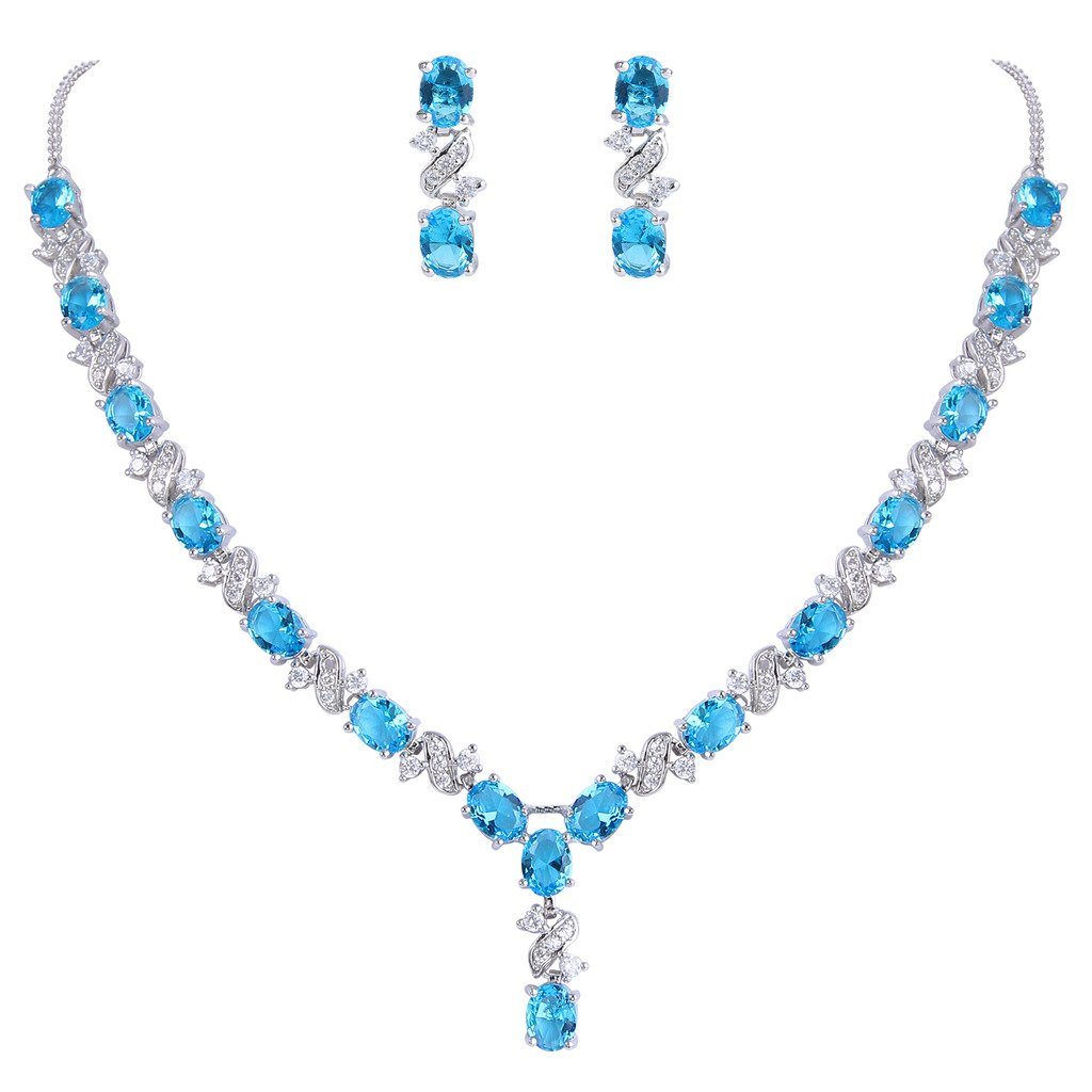 EleQueen Women's Silver-tone Cubic Zirconia Oval Shape Leaf Necklace Earrings Set For Brides And Weddings Sky Blue