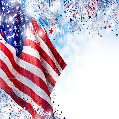 OFILA American Flag Backdrop 6x6ft Fireworks 4th of July Independence Day USA Parade Banner Patriotic Holidays Decoration Memorial Day Background American Signs Photos Digital Video Studio Prop