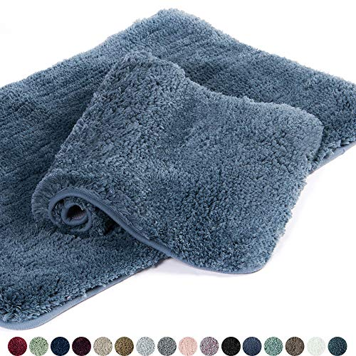 (Walensee Bathroom Rug Non Slip Bath Mat for Bathroom (16 x 24) Water Absorbent Soft Microfiber Shaggy Bathroom Mat Machine Washable Bath Rug for Bathroom Thick Plush Rugs for Shower (Slate))
