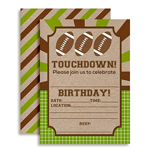Feet Invitations (Touchdown Football Birthday Party Invitations, Ten 5