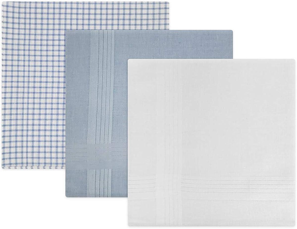 kariert und gef/ärbt Herren-Taschent/ücher mit Satin-Streifenbord/üre Blau // Wei/ß 40 x 40 cm 100//% Baumwolle