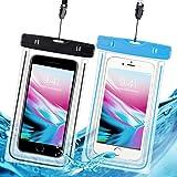 防水ケース 防水携帯ケース スマホ用 IPX8規格 夜間発光 潜水 お風呂 水泳 砂浜 水遊びなど用 フォンケース・カバー フローティング 【iPhone X / 8/7/6 / Plus とAndroid SAMSUNG Galaxy S8/S7 edge/SONY Xperia/HUAWEI ネックストラップ付属 各種のスマホ防水ケース6インチまで対応】- 2枚セット (黒 と青)